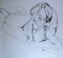 Nude Female 009 Pencil Sketch by Enchanted Studios
