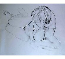 Nude Female 009 Pencil Sketch Photographic Print
