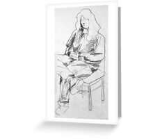 Woman Seated Pencil Sketch Greeting Card