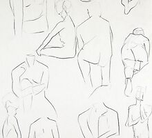 Montage of Quick Life Drawing Pencil Sketches by Enchanted Studios