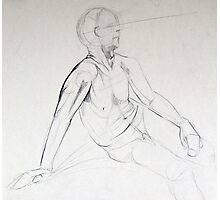Male Nude Pencil Sketch Photographic Print