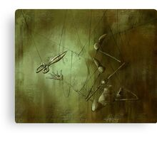 Reaching for Scissors, Creepy Puppet Painting Canvas Print
