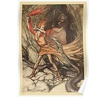 The Rhinegold & The Valkyrie by Richard Wagner art Arthur Rackham 1910 0117 Horrible Dragon Swallow Me Not Poster