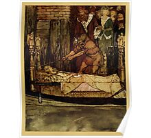 The romance of King Arthur and his knights of the Round Table art Arthur Rackham 1917 0497 Arthur & Guenevere at Elaine's Corpse Poster
