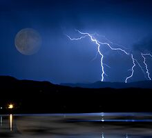 Lightning Storm - Full Moon - Misty Lake  by Bo Insogna