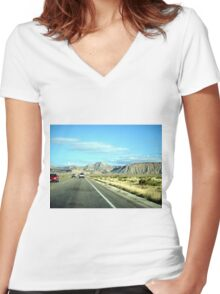 Route 191, Utah - Moab to Price Women's Fitted V-Neck T-Shirt
