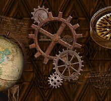 Steampunk Gears on Coppery-look Geometric Design by NaturePrints