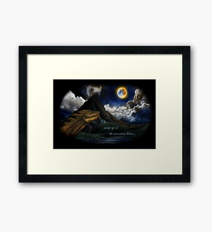 Smaug and the Lonely Mountain Framed Print
