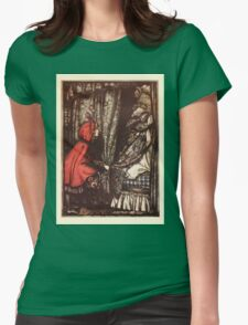 Hansel & Grethel & Other Tales by Grimm Wilelm and Jacob art by Arthur Rackham 0169 Red Riding Hood What Big Ears You Have Grandmother Womens Fitted T-Shirt