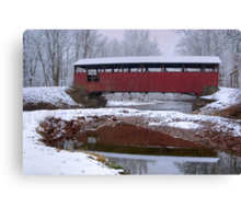 Lairdsville Covered Bridge In Winter Canvas Print