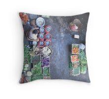 Market Place - Bali, Indo Throw Pillow