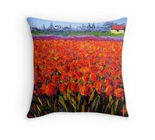 Holland Tulip Field Throw Pillow