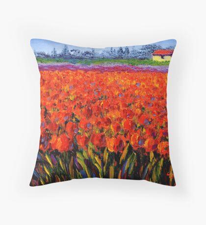 Holland Tulip Field Throw Pillow