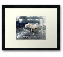 Fantasy White Horse & Ocean Surf Poster Framed Print