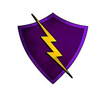 Superhero Design - Purple Shield with Lightning Bolt Photographic Print