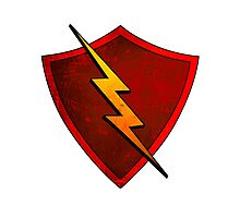 Superhero Design - Red Shield with Lightning Bolt Photographic Print