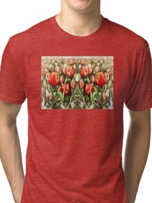 Mirrored Field of Tulips in Colour Tri-blend T-Shirt