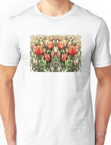 Mirrored Field of Tulips in Colour Unisex T-Shirt