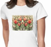 Mirrored Field of Tulips in Colour Womens Fitted T-Shirt