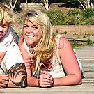 Portrait: Nadene and family on Boonerah Point by Vanessa Pike-Russell
