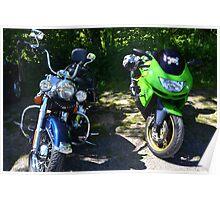 Harley and a Kawasaki MotorBikes Poster