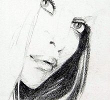 Pencil Sketch of Beautiful Face by Enchanted Studios
