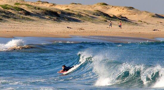 Body Boarding - Nobbys Beach NSW by Bev Woodman