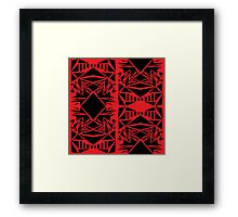 Geometric vector abstraction in red and black Framed Print
