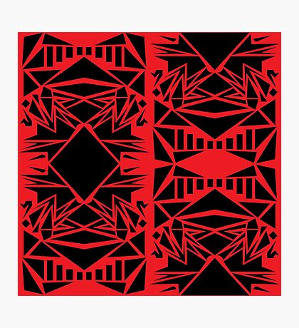 Geometric vector abstraction in red and black Photographic Print