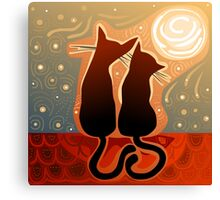 couple of cats in love on a house roof Canvas Print