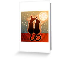 couple of cats in love on a house roof Greeting Card