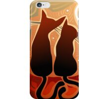 couple of cats in love on a house roof iPhone Case/Skin