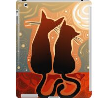 couple of cats in love on a house roof iPad Case/Skin