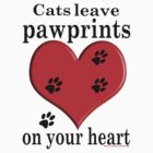 'Cats leave pawprints on your Heart' T-Shirt by Sally Green