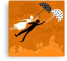 couple in love flying with umbrellas Canvas Print