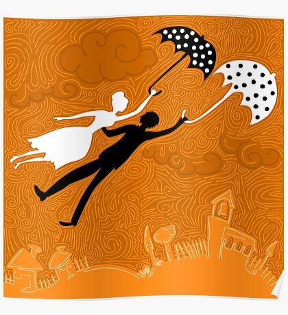 couple in love flying with umbrellas Poster