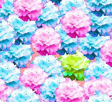 Pink teal colorful hortensia floral pattern by Maria Fernandes