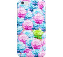 Pink teal colorful hortensia floral pattern iPhone Case/Skin