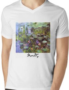 Monet - Waterlilies (Nympheas) Mens V-Neck T-Shirt