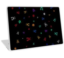 Colorful Teddy Bears and Flowers, abstract Laptop Skin