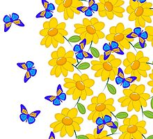 Cute abstract sunflower blue yellow butterfly  by Maria Fernandes