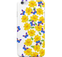 Cute abstract sunflower blue yellow butterfly  iPhone Case/Skin