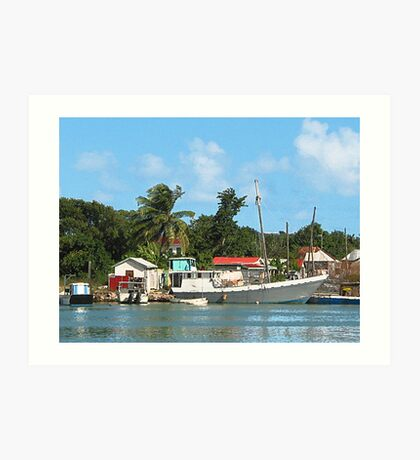 Docked Boats at Antigua Art Print