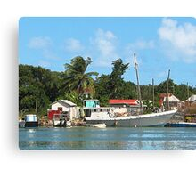 Docked Boats at Antigua Canvas Print