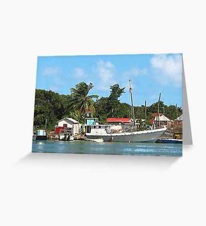 Docked Boats at Antigua Greeting Card