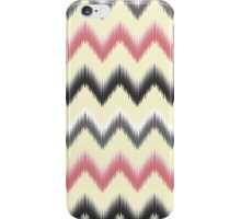 Modern coral gray yellow black trendy ikat pattern  iPhone Case/Skin