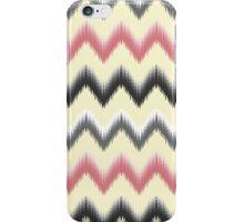 Modern coral gray yellow black trendy ikat pattern  iPhone Case/Skin