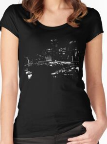 Circular Quay City Skyline White Silhouette Women's Fitted Scoop T-Shirt