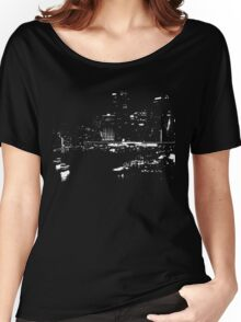 Circular Quay City Skyline White Silhouette Women's Relaxed Fit T-Shirt