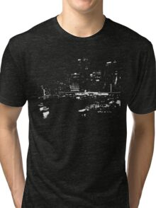 Circular Quay City Skyline White Silhouette Tri-blend T-Shirt